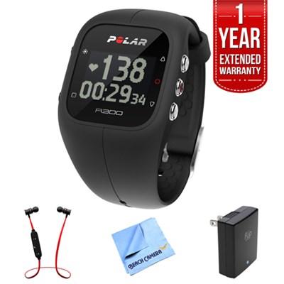 A300 Fitness Tracker, Activity Monitor w/ Heart Rate + Warranty Bundle
