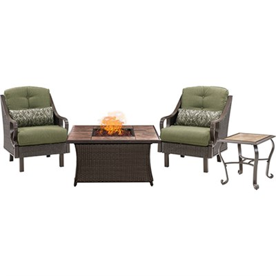 Ventura Fire Pit Chat Set with Tan Porcelain Tile Top - VEN3PCFP-GRN-TN