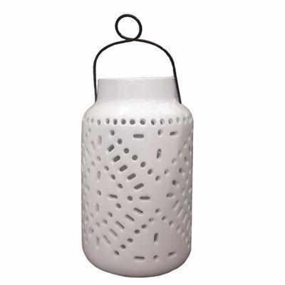 11` Tangier Large Solar Ceramic Lantern - 3903MRM1