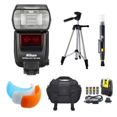 SB-5000 AF Speedlight Flash, Tripod, and Case Bundle