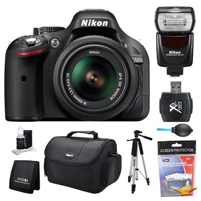 D5200 DX-Format Digital SLR Camera 18-55mm and Flash Kit