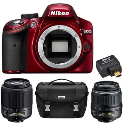 D3200 24.2MP DX DSLR 2 Lens Ultimate Wireless Bundle Red (Certified Refurbished)