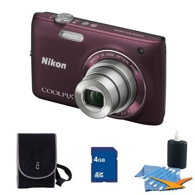 COOLPIX S4100 14MP Plum Digital Camera 4GB Bundle