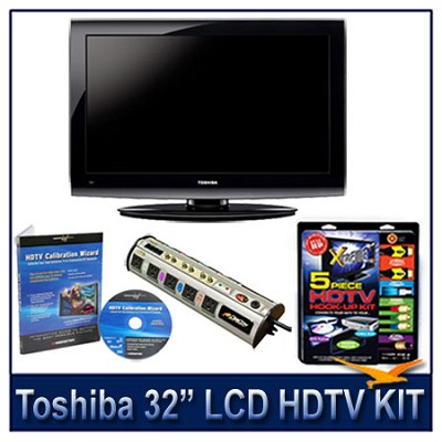 32C100U 32` 720p LCD HDTV + Hook-Up + Power Protection + Calibration DVD