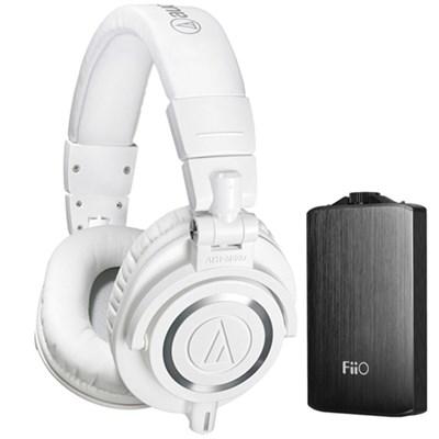 ATH-M50X Professional Studio Headphones & Fiio A3 Amplifier Bundle (White)