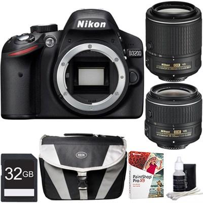 D3200 24.2MP Digital SLR Camera w/ 18-55mm & 55-200mm VR Lenses Ultimate Bundle