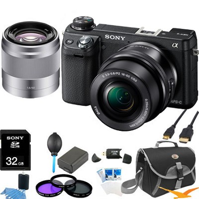 Alpha NEX-6 Digital Camera w/ 16-50mm Lens (Black) +SEL 50mm f 1.8  Bundle