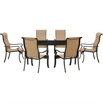 Brigantine 7-pc Dining Set: Alum. Glass Table 6 Sling Chairs