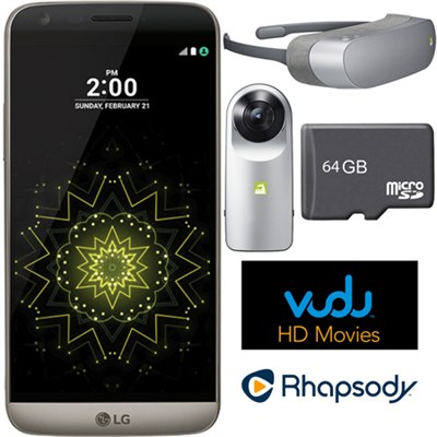 RS988 - G5 32GB Smartphone (Unlocked) Titan w/ 360 CAM + 360 VR Headset Bundle