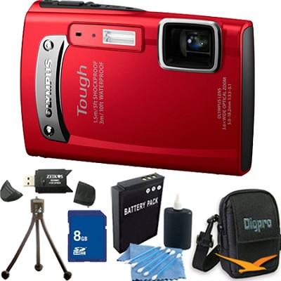 Tough TG-310 14 MP Water/Shock/Freezeproof Digital Camera Red 8GB Kit