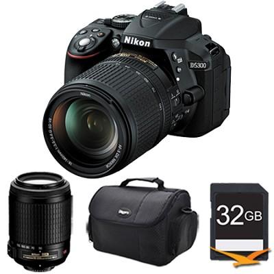 D5300 DX-Format 24.2 MP DSLR Camera (Black) 18-140mm and 55-200mm Lens Bundle