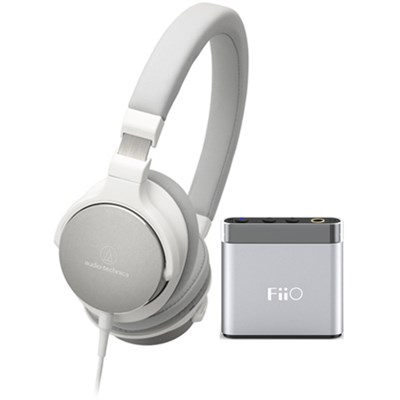 SR5 On-Ear High-Resolution Headphones w/ FiiO A1 Headphone Amplifier, White