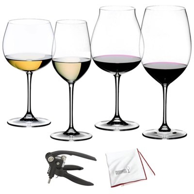 Vinum XL Wine Glasses Tasting Set Set of 4 Grape Varietal w/Corkscrew Kit