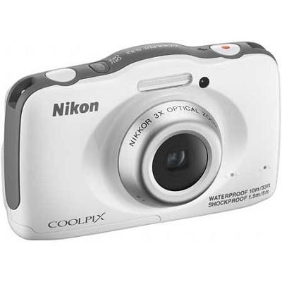 COOLPIX S32 13.2MP Digital Camera Waterproof Shockproof (White) Refurbished