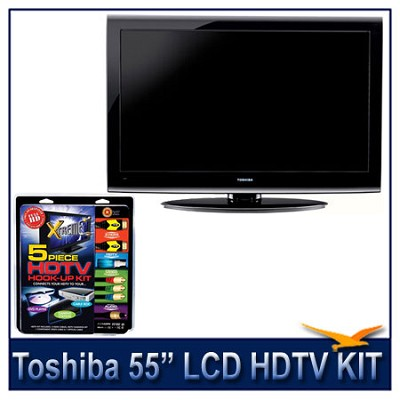 55-Inch 1080p LCD HDTV - Black + High-performance HDTV Hook-up & Maintenance Kit