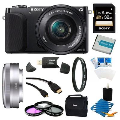 NEX-3NL Black Digital Camera 16-50mm Lens 32GB 16mm f/2.8 Lens Bundle
