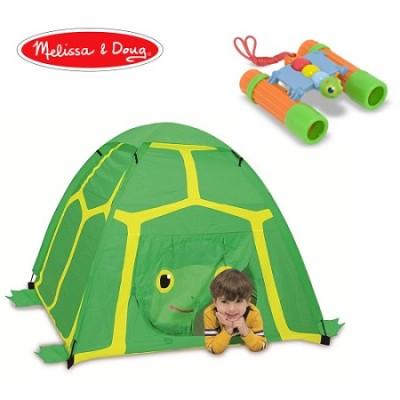 Green Turtle Tent and Green/Orange Kids Binoculars