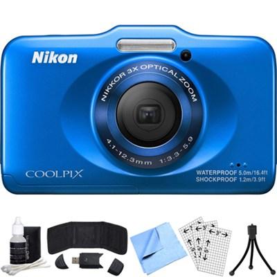 COOLPIX S31 10.1MP Waterproof Digital Camera 720p HD (Blue) Refurbished Bundle