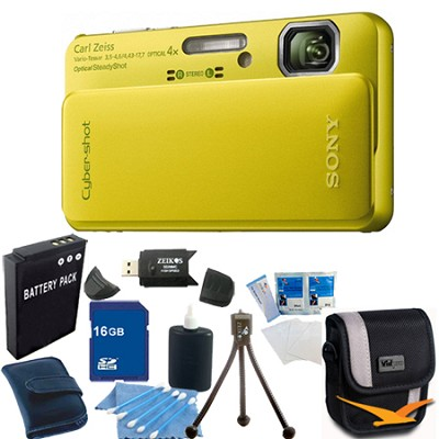 Cyber-shot DSC-TX10 Green Digital Camera 16GB Bundle
