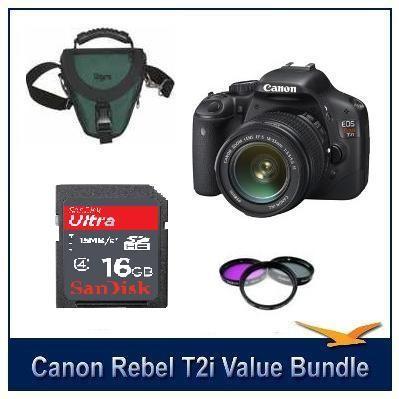EOS Digital Rebel T2i w/18-55 IS Lens Kit + Case & More