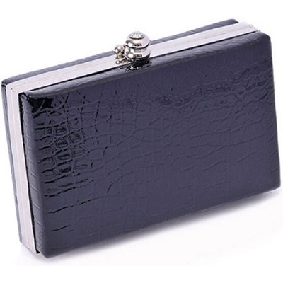 Shiny Exotic Croc Frame Clutch - Black