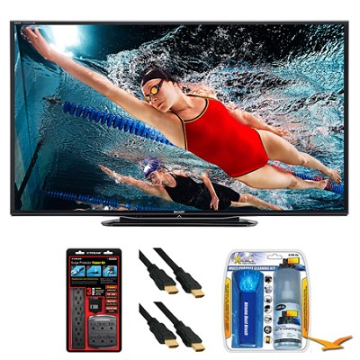 LC-70LE757U Aquos 70` 3D WiFi 240Hz 1080p LED TV Surge Protector Bundle