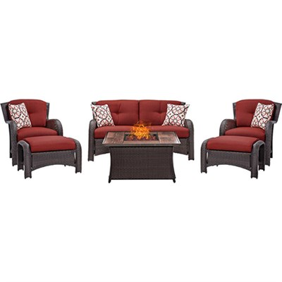 Strathmere 6-Piece Lounge Set in Crimson Red - STRATH6PCFP-RED-WG