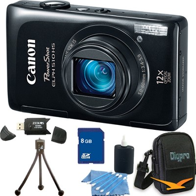 PowerShot ELPH 510 HS Black Digital Camera 8GB Bundle