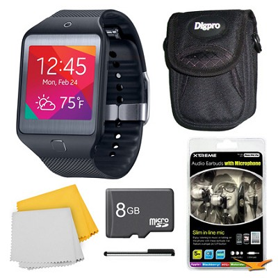 Gear 2 Neo Black Watch, Case, and 8GB Card Bundle
