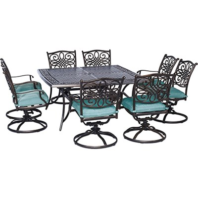 Traditions 9-Piece Traditions Square Dining Set in Ocean Blue - TRAD9PCSWSQ8-BLU