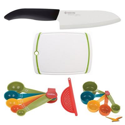 Revolution 5-1/2` Santoku Knife, Board, Measuring Sets, and Drainer Bundle