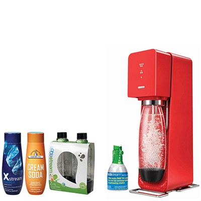 Source Home Soda Maker Starter Kit, Red with Soda Maker Bundle