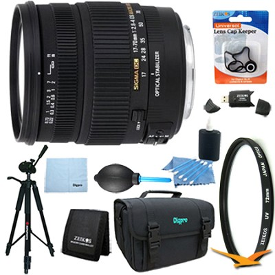 17-70mm f/2.8-4 DC Macro OS HSM Lens for Canon EOS Mount DSLR Lens Kit Bundle