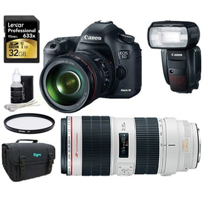 EOS 5D Mark III 22.3 MP Full Frame CMOS w/ 24-105 & 70-200 2.8 II Lens Sport Pak