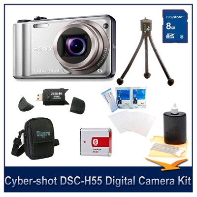 Cyber-shot DSC-H55 14.1 MP Digital Camera (Silver) w/ 8GB Card, Spare Batt, More