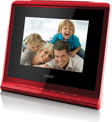 3.5` (4:3) Digital Photo Frame with Alarm Clock (red)