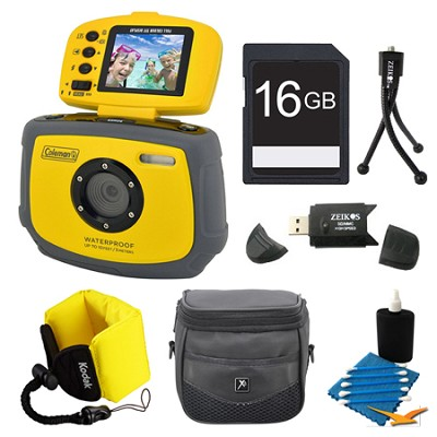 Xtreme C4WP 12 MP Waterproof Yellow Digital Camera 16GB Bundle