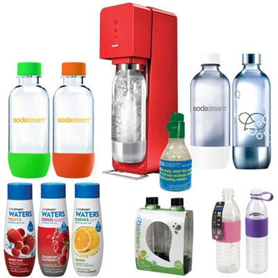 Source Soda Maker(Metal) in Red with Exclusive Kit w/ 4 Bottles & Starter CO2
