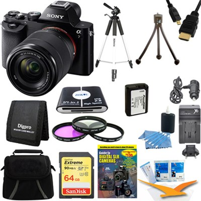 Alpha 7K a7K Digital Camera 64 GB SDXC Card, Battery, and Tripod Bundle