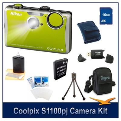 COOLPIX S1100pj Green Digital Camera 16GB Kit w/ Reader, Case, Battery, & More