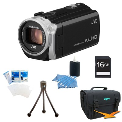 GZ-E505BUS - HD Everio Camcorder 38x Zoom f1.8 (Black) with 16GB Bundle