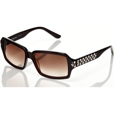 Sunglasses Brown Frame, Brown Lens With Studded Silver Det