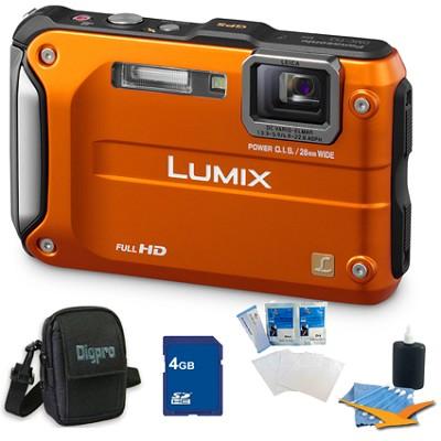 Lumix DMC-TS3 Orange Shockproof Freezeproof Dustproof Camera 4GB Bundle