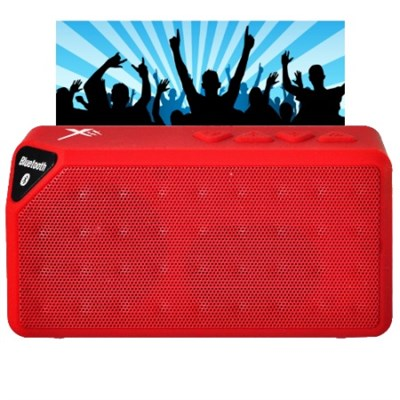 Bluetooth Rechargeable Speaker w/ Microphone - Red - OPEN BOX