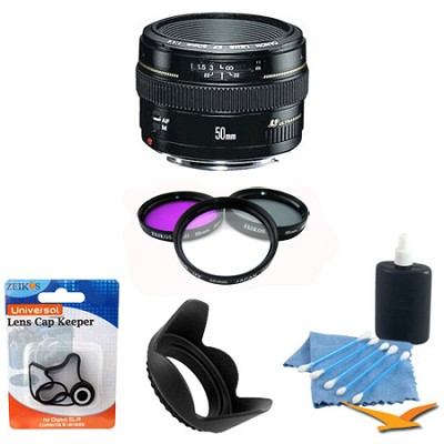 EF 50mm F/1.4 USM Lens 2515A003 w/ Filter Kit, Hood & Cleaning Kit