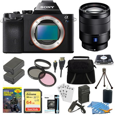 ILCE-7S/B a7S Full Frame Camera, 24-70mm Lens, 64GB SDXC Card, 2 Battery Bundle