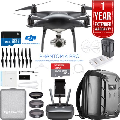 Phantom 4 PRO Quadcopter Drone (Obsidian) + Battery Charging Hub and Backpack