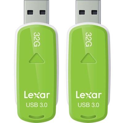 32GB S37 JumpDrive USB 3.0 Flash Memory Drive Green LJDS37-32GABNL 2-Pack Bundle