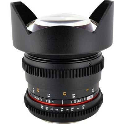 14mm T3.1 Aspherical Wide Angle Cine Lens, De-clicked Aperture for Nikon Mount
