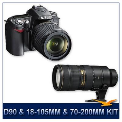D90 DX-Format Digital SLR Camera Kit w/ 18-105mm & 70-200mm lenses